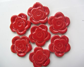 7 ceramic red  roses mosaic tiles, mosaic pieces, mosaic making, mosaic supplies