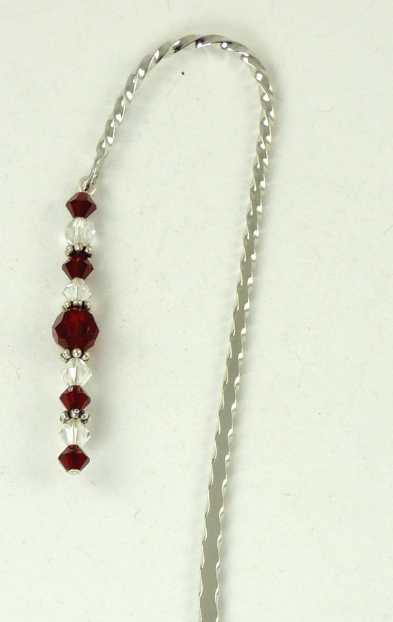 January Bookmark - Garnet, Hook Bookmark, Crystal Bookmark