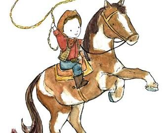 Children's Art - Ride 'Em Cowboy -- Art Print