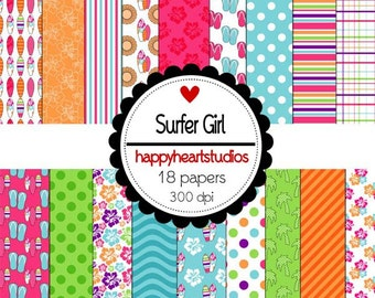 Digital Scrapbook  SurferGirl-INSTANT DOWNLOAD