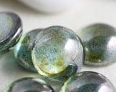 12 Pieces Preciosa Czech Glass Round Cabochons-Green Luster 9mm (2194L09GRE) (B-3-24)
