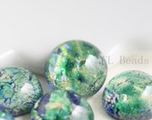 6 Pieces Preciosa Czech Glass Round Cabochons-Green Opal 9mm (168409OPGR) (B-3-19)