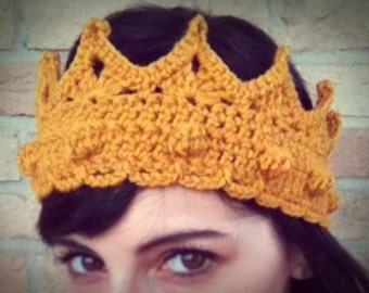 Made in Italy - Royal crown, wool crochet headband, ear warmer for queen, king, prince and princess - Made to order