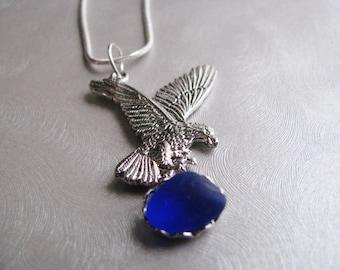 Eagle Pendant - Cobalt Blue - Sea Glass Pendant - Sapphire Blue Necklace - Beach Glass Jewelry