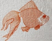 Flour Sack Dish Towel - Goldfish Screen Printed in Orange - 100% cotton dishtowel with fish design