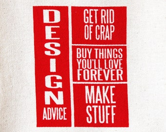 Flour Sack Dish Towel - Design Advice in Red, Olive Green or Light Arctic Blue - Screen Printed by hand