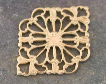 12 Raw Brass Filigree Jewelry Findings 387