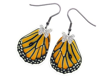 Real Butterfly Wing Earrings (Genutia Hindwing - E062)