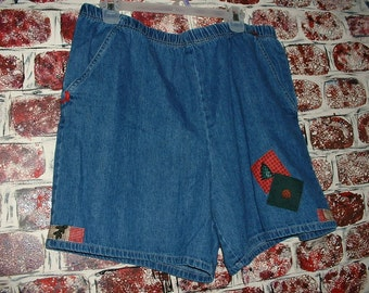 "Denim Shorts, Size XL 16, 18, Upcycled, Rustic Woods, Lodge, from ""Pretty in Plus"""