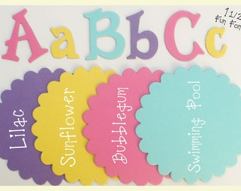 """FRUIT PUNCH - Chipboard or Cardstock Die Cut Letters  - 1.5"""" Fun Font - Uppercase /  Lowercase Alphabets"""