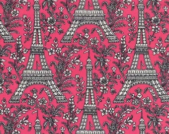 Fat Quarter - Bright PINK Eiffel Tower Michael Miller CX1248-Pink-D