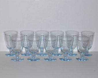 Kosta Boda Bernadette Blue Goblets , Tear Drop Stems, Set of 11