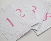 Embossed Table Number Cards - Great for Baby Showers, Baptisms, Christenings, or any Event - Baptism decor, Christening table numbers