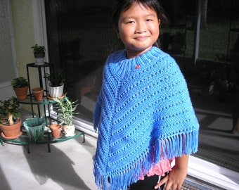 Knitted Poncho, Girls Large - Berry Blue