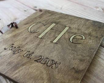 Custom Wedding Guest Book - Gold Monogram