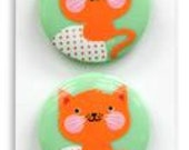 BUTTONS Hello Tokyo Kitty Cat set of 3 buttons large