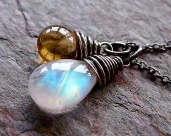 Rainbow Moonstone and Citrine Sterling Silver Necklace