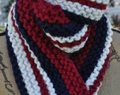 Chunky Striped Scarf - Mens Long Scarf - Womens Knit Wool Winter Scarf - Teen Scarf - Team Scarf - Cranberry Red - Navy Blue - Ivory White