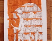 bookshelves screenprint
