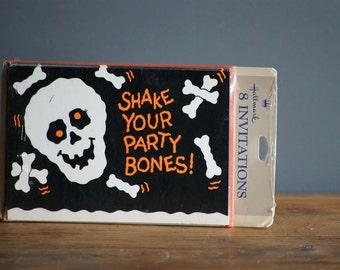 Vintage Halloween Party Invitations, Hallmark Cards, Skull and Bones, Unused and Unopened