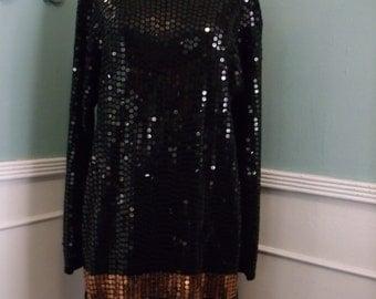 Vintage Black Sequin Cocktail Dress. NYE Party Dress. Gold and Black Shift Dress. HOLIDAY