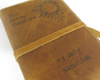 Leather Journal Sketchbook Custom Hand-Printed Free Personalization