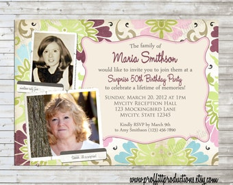 Shabby Chic  custom photo birthday party invitation for an adult woman - digital file