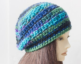 Chunky Hat, Hand Crocheted Slouchy Beanie, Turquoise Green Purple  Vegan Hat