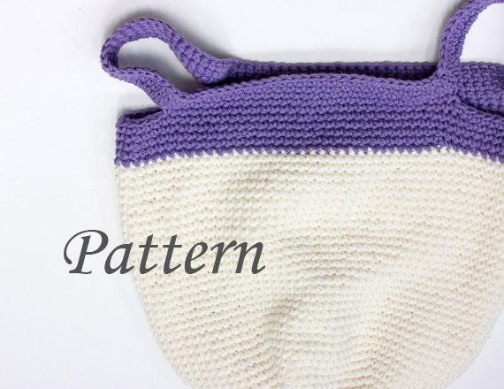 Beginner Crochet Tote Bag Pattern : Bag Crochet Pattern, Book Bag, Crocheted Tote PDF Pattern, Pattern ...