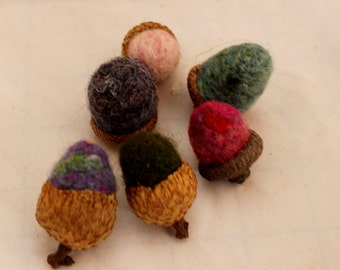 Acorn, 6 Needle Felted Acorns #2