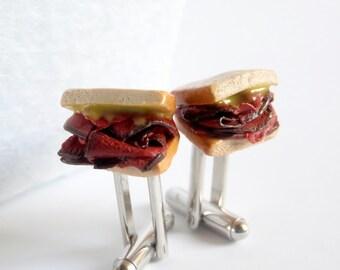 Pastrami Sandwich Cufflinks - Miniature Food Art Jewelry Collectable - Schickie Mickie Original 100% Handmade