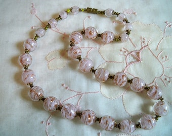 Vintage Venetian Murano Sommerso Pink Glass Bead Necklace Gold Foil Aventurine