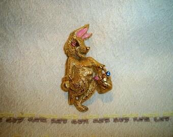 Vintage 1960s Beatrix Easter Bunny Brooch Rhinestones Pink Ears Figural Brooch