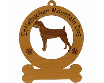 3175 Entlebucher Mountain Dog Personalized Wood Ornament