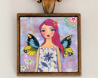 Fairy Necklace - Fairy Jewelry - Fairy pendant - Fairy Art - Fairy Gift - Butterfly Necklace - Fairy Wings Necklace