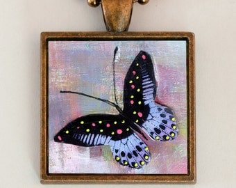 Butterfly Necklace Whimsical Handmade Art Jewelry