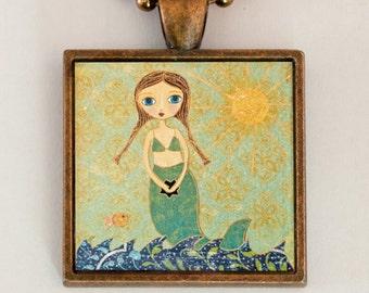 Mermaid Necklace, Little Mermaid Pendant, Mermaid Gift, Mermaid Jewelry, Mermaid Charm, Kids Jewelry, Children Jewelry, Girls Jewelry