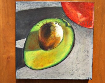 Original Oil Pastel Avocado Still Life on 12 x 12 Thick Canvas: Lunch