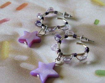 Star Earrings / Purple / Rainbow Fluorite / Sweet Sixteen / Heart Hoops / post earrings / Silver