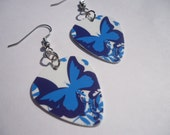 Upcycled Pretty Butterfly Guitar Pick Earrings