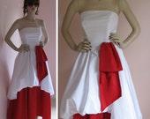 Red Velvet Cake Vintage 1980s Strapless Red and White Bubble Skirt Formal Dress