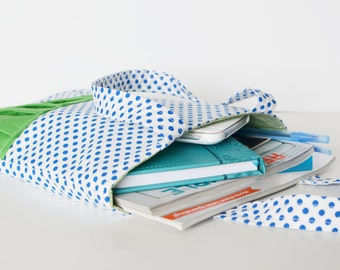 SALE**  Navy Blue Polka Dot - Medium Ruffle Tote Bag (tote, bag, purse, diaper bag, blue and white tote, tote bag)