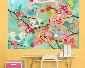 Super-sized fabric wall decal - cherry blossom birdies