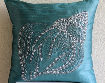 "Designer  Teal Blue Decorative Pillows Cover, Sea Shell Ocean And Beach Theme Pillows Cover Square  18""x18"" Silk - Crystal Sea Shell"