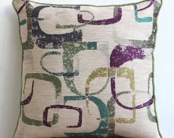 """Designer Multi Color Pillows Cover, Colorful Abstract Pillows Cover Square  18""""x18"""" Jacquard Pillow Covers - Colorful Maze"""