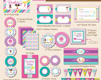 Cartwheels & Cupcakes Girls Gymnastics Birthday Printable Party - INSTANT DOWNLOAD!