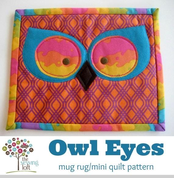 Owl Eyes Mini Quilt Mug Rug Pattern Instant Download