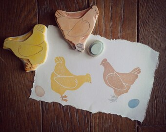 Hens and Egg Rubber Stamp Set Hand Carved
