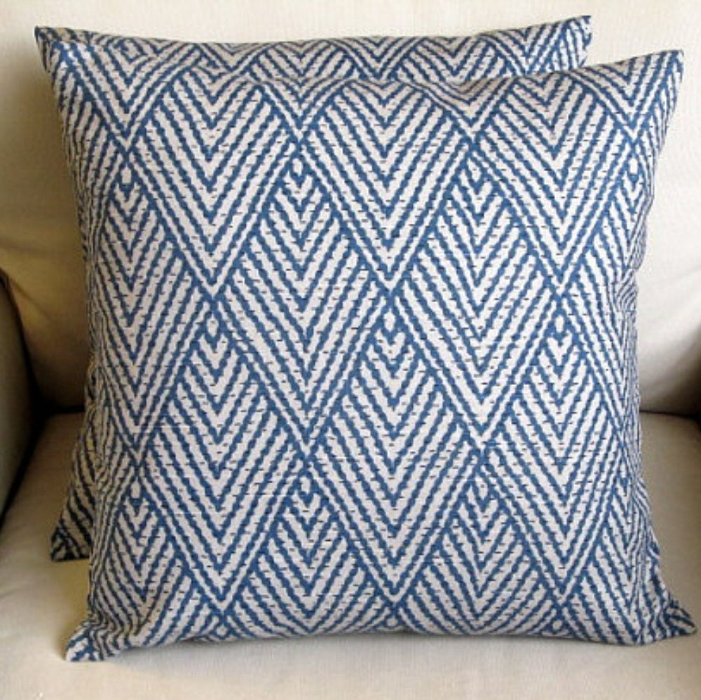 26x26 Euro Ikat Sapphire Blue Pillow Cover By Yiayias On Etsy