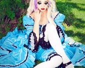 SALE Fantasy Alice in Wonderland Costume Gown or Set with Bloomers IN STOCK Small